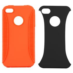 BasAcc Orange TPU/ Black Plastic Hybrid Case for Apple iPhone 4/ 4S
