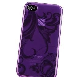 BasAcc Clear Purple Flower TPU Rubber Case for Apple iPhone 4/ 4S