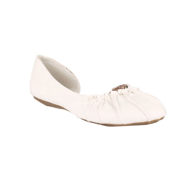 Neway by Beston 'Pansy-02' Women's White Ballet Flats