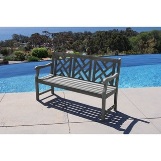 Comfortable Renaissance Outdoor Hand-Scraped Hardwood Bench