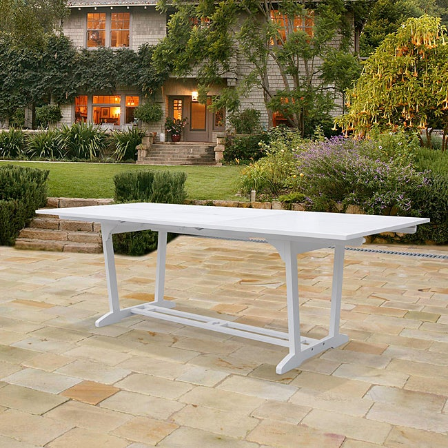 Bradley Outdoor Wood Rectangular Extension Dining Table Overstock