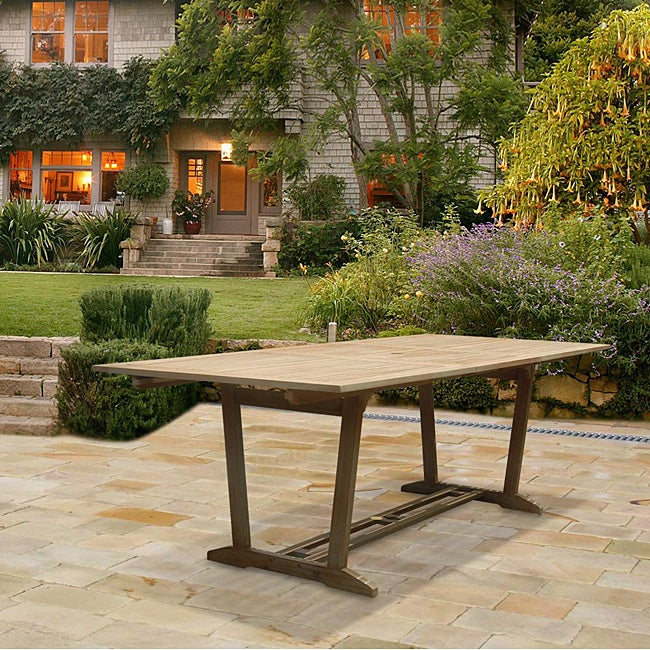 Outdoor Hand Scraped Hardwood Rectangular Extension Dining Table