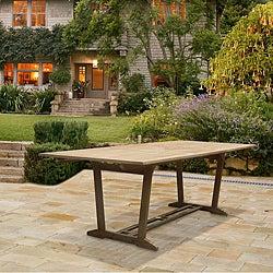 Renaissance Outdoor Hand-scraped Hardwood Rectangular Extension Dining Table