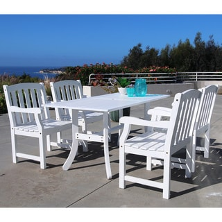 Bradley Rectangular Table and Arm Chair Outdoor Wood Dining Set