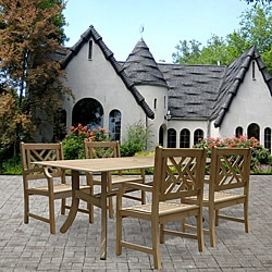 Renaissance Rectangular Table and Armchair 5-piece Outdoor Hardwood Dining Set