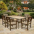 Renaissance Rectangular Table and Armchair 7-piece Outdoor Hardwood Dining Set