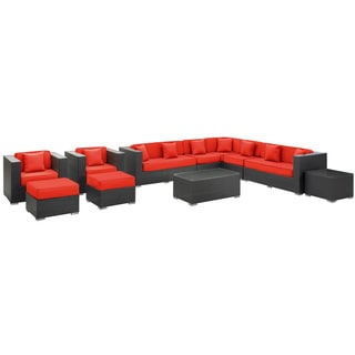Cohesion Espresso with Red Cushions Rattan 11-piece Outdoor Set