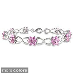 Miadora Sterling Silver 4 2/5ct TGW Gemstone 7.25-inch Flower Bracelet