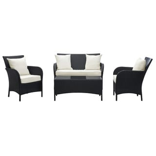 Thrive Espresso with White Cushions 4-piece Outdoor Rattan Set