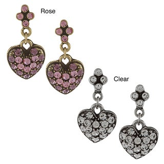 Sweet Romance Queen of Hearts Pewter  Crystal Earrings