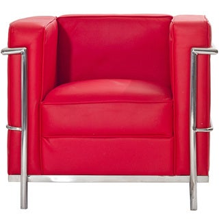 Le Corbusier Style LC2 Genuine Red Leather Armchair