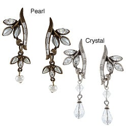 Sweet Romance Vintage Crystal or Glass Pearl Vine Earrings