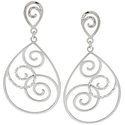 La Preciosa Sterling Silver Swirl Design Open Teardrop Earrings