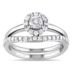 Miadora 14k White Gold 3/4ct TDW Diamond Bridal Ring Set (H-I, I2-I3)