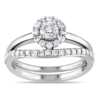 Miadora 14k White Gold 3/4ct TDW Diamond Bridal Ring Set (H-I, I2-I3)