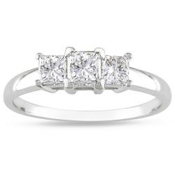 Miadora 14k White Gold 1ct TDW Diamond 3-stone Ring (H-I, I2-I3)
