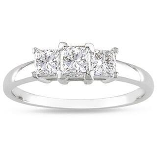 Miadora 14k White Gold 1ct TDW Diamond Three-stone Ring (H-I, I2-I3) with Bonus Earrings