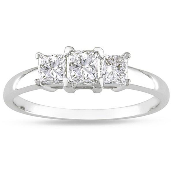 Miadora 14k White Gold 1ct TDW Diamond Three-stone Ring (H-I, I2-I3)