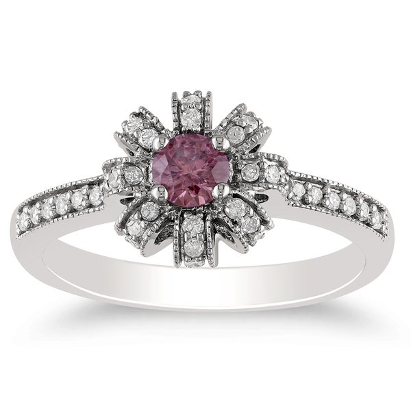 Miadora 14K White Gold 1/2Ct TDW Pink and White Diamond Vintage-style Ring