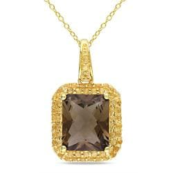 Miadora 18k Goldplated Silver 7 4/5ct TGW Smokey Quartz and Citrine Necklace