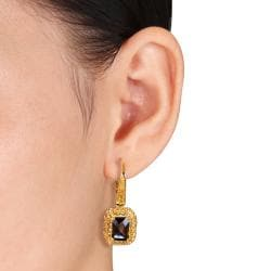 Miadora 18k Goldplated Silver 4 3/4ct TGW Smokey Quartz and Citrine Earrings