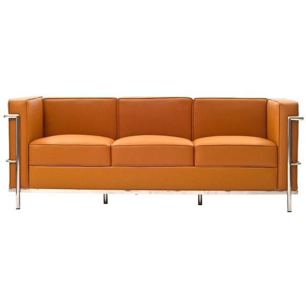 Le Corbusier Style Genuine Tan Leather LC2 Sofa