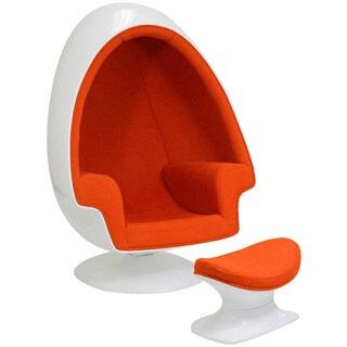 Eero Aarnio Alpha Shell Orange Egg Chair And Ottoman