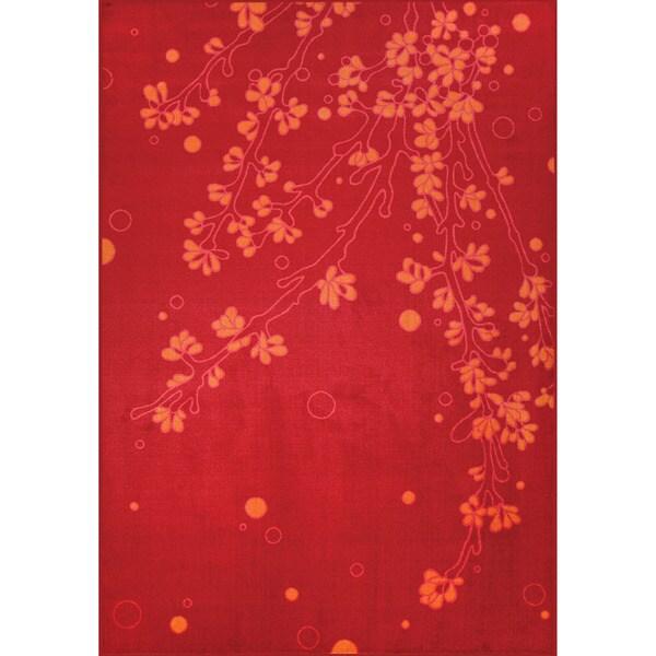 Somette Allestra Elegance Red Rug (7' x 10')