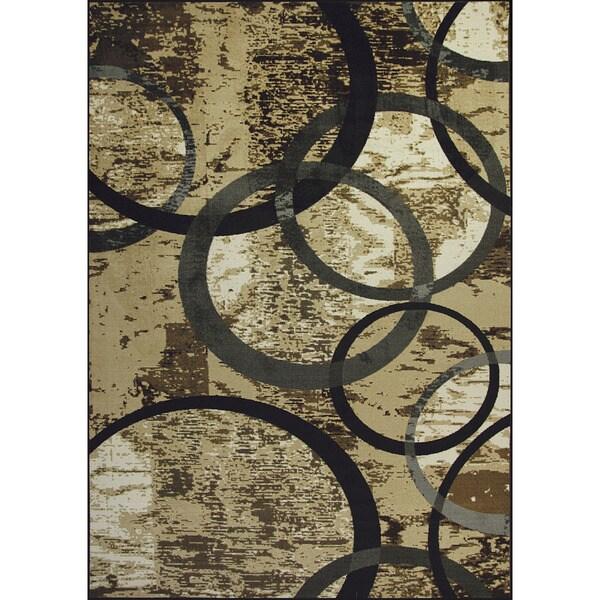 Somette Allestra Circle of Life Grey Rug (7' x 10')