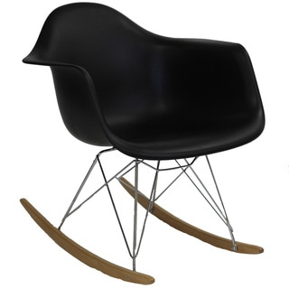 Black Molded Plastic Armchair Rocker