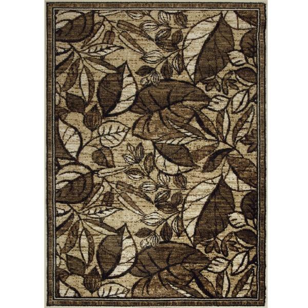 Somette Allestra Rain Forest Paradise Beige Rug (7' x 10')