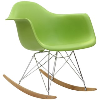 Green Molded Plastic Armchair Rocker