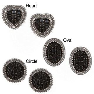 La Preciosa Sterling Silver Black Cubic Zirconia Stud Earrings