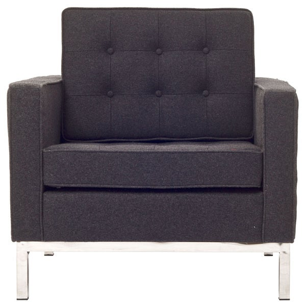Florence Style Dark Grey Wool Armchair Chair