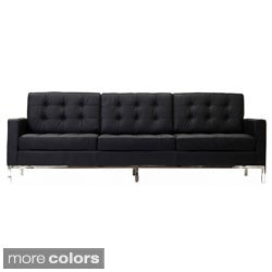 Florence Style Sofa in Black Genuine Leather