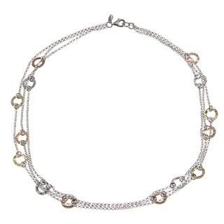 La Preciosa Silver Triple-strand Tri-Color Circle 17.5-inch Necklace