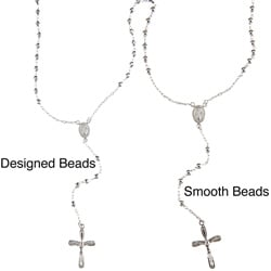 La Preciosa High-polish Sterling Silver Beaded Rosary Necklace