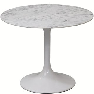 Lippa White Marble 24-inch Side Table