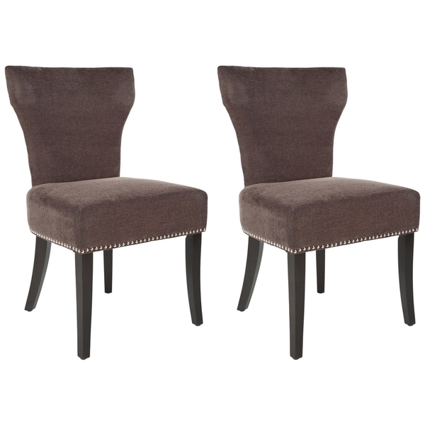 Safavieh En Vogue Dining Matty Brown Polyester Nailhead Side Chairs (Set of 2)