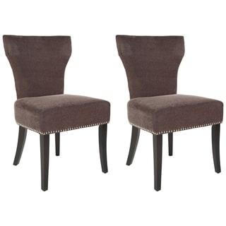 Safavieh Matty Brown Polyester Nailhead Dining Chair (Set of 2)