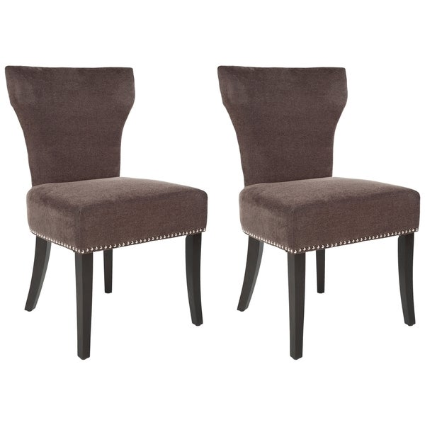 Safavieh Matty Brown Polyester Nailhead Dining Chair (Set of 2)