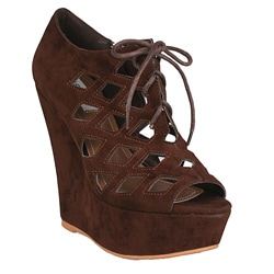 Neway by Beston Women's 'Adela' Coffee Cut-out Wedges