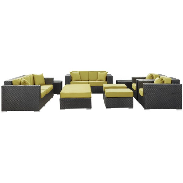 Eclipse Outdoor Rattan 9-piece Set in Espresso with Peridot Cushions