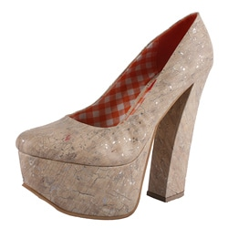 Riplay by Beston Women's 'Anne-05' Orange Marble Print Block Heel Platform Pumps