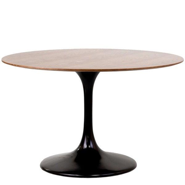 Eero Saarinen Style Tulip Dining Table in Black with Walnut Top
