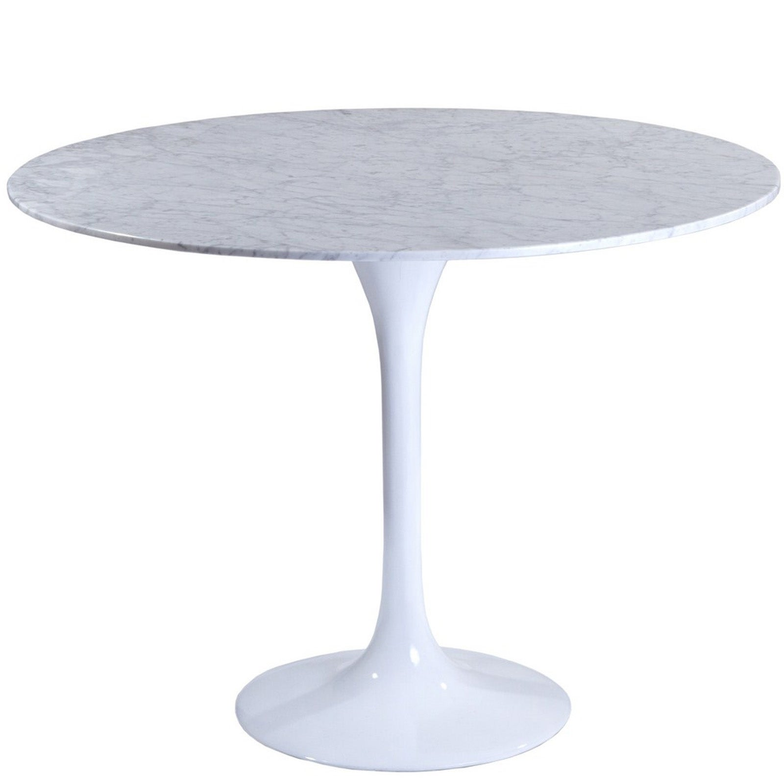 Eero Saarinen Style 40 Inch White Marble Top Tulip Dining Table