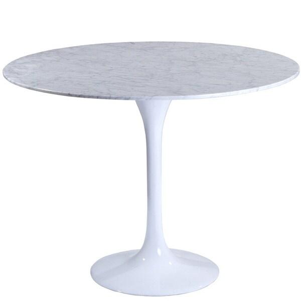 Eero Saarinen Style 40 Inch White Marble Top Tulip Dining