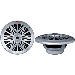 "Pyle Pair of 200W 6.5"" 2Way Marine Speakers Silver"