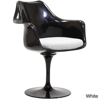 Black Eero Saarinen Style Tulip Arm Chair with White Cushion