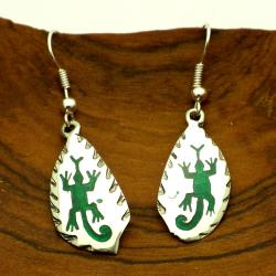 Hopi Lizard Design Alpaca Silver Earrings (Mexico)